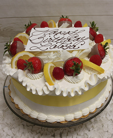 BD-003 Gold Cake with Lemon and Rasberry mousse filling.