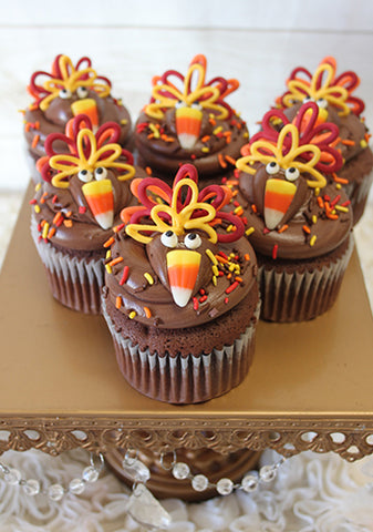 CC-071 Turkey cupcake design Gold cake with chocolate mousse filling.