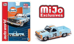 Auto World 1:64 MiJo Exclusives Chevy 1973 Cheyenne Fleetside Gulf Livery LTD 4,800