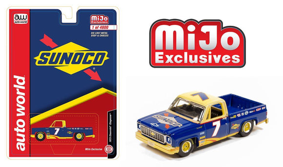 Auto World 1:64 MiJo Exclusives Chevy 1973 Cheyenne Fleetside Sunoco Racing LTD 4,800