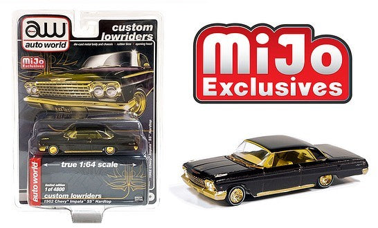 Auto World 1:64 Mijo Exclusives Custom Lowriders 1962 Chevy Impala SS Hardtop Lowrider BlackGold