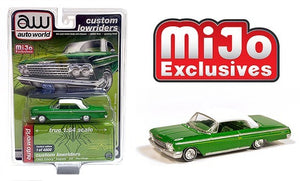 Auto World 1:64 Mijo Exclusives Custom Lowriders 1962 Chevy Impala SS Hardtop Lowrider Green