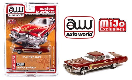 Auto World 1:64 Mijo Exclusives Custom Lowriders 1976 Cadillac Coupe Deville Red