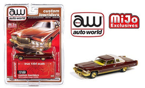 Auto World 1:64 Mijo Exclusives Custom Lowriders 1976 Cadillac Coupe Deville Brown
