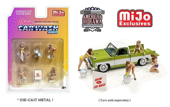 American Diorama 1:64 Mijo Exclusives Figures Bikini Car Wash Girls Figurine 6 pieces Diecast