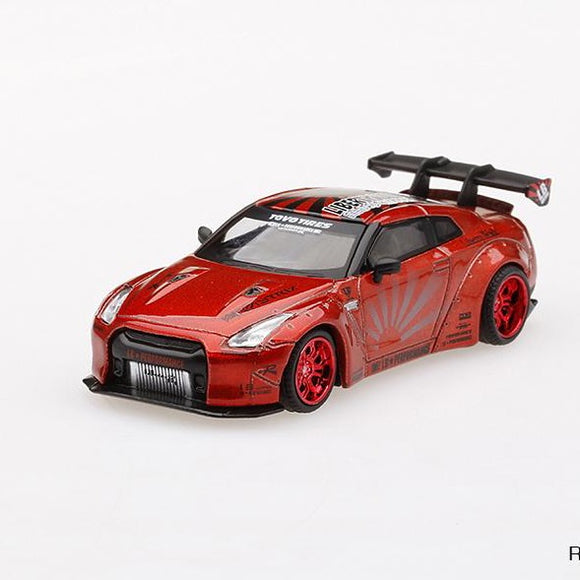 Mini GT 1:64 MiJo Exclusives -  LB★Works  Nissan GT-R R35 Type 1 Rear Wing Version 1+2 (Candy Red) LHD