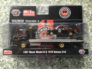 1957 MACK MODEL N FLATBED WITH 1970 DATSUN 510 YOKOHAMA GT SPECIAL MIJO EXCLUSIVE 3000 1/64