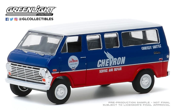 Greenlight 1:64 Blue Collar Collection Series 7 - 1970 Ford Club Wagon - Chevron Service & Repair Courtesy Shuttle