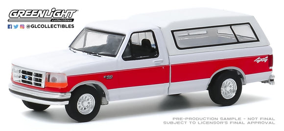Greenlight 1:64 Blue Collar Collection Series 7 - 1994 Ford F-150 XLT with Camper Shell - Red and White