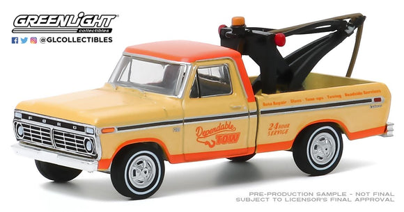 Greenlight 1:64 Blue Collar Collection Series 7 - 1973 Ford F100 with Drop in Tow Hook