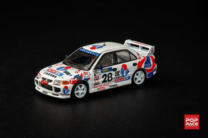 Inno64 x Pop Race 1:64 MITSUBISHI LANCER EVOLUTION III #28 Hong Kong - Beijing 555 Rally 1996