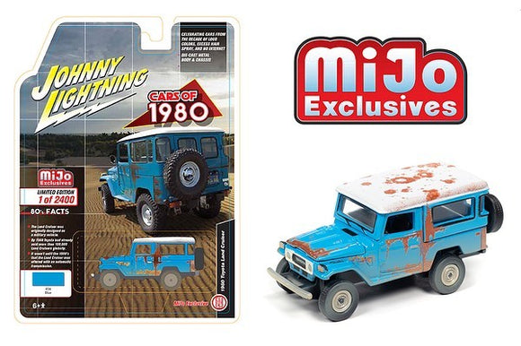 JOHNNY LIGHTNING 1/64 1980 TOYOTA LAND CRUISER RUSTED BLUE / MIJO EXCLUSIVE