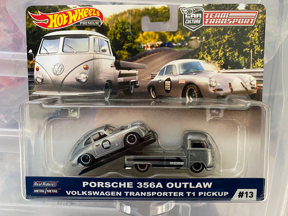 Hot Wheels 1:64 2019 Team Transport  Volkswagen T1 Transporter Pickup W/ Porsche 356 Coupe Outlaw