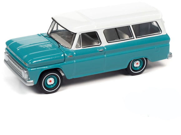 Auto World 1:64 1965 Chevrolet Suburban in Light Green with White Roof