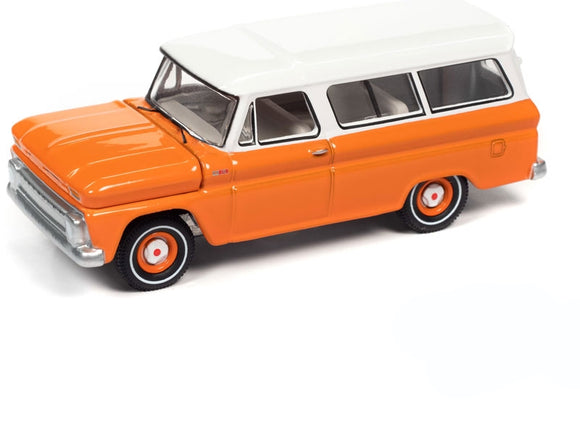 Auto World 1:64 1965 Chevrolet Suburban in Orange with White Roof
