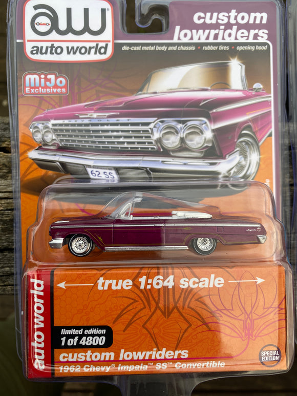 Auto World 1:64 Mijo Exclusives Custom Lowriders 1962 Chevy Impala SS Convertible Plum Limited Edition