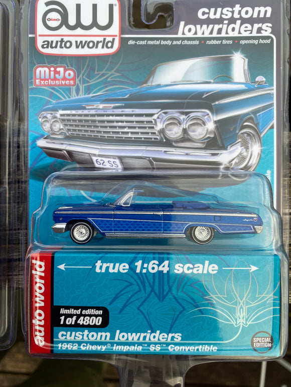 Auto World 1:64 Mijo Exclusives Custom Lowriders 1962 Chevy Impala SS Convertible Blue Limited Edition