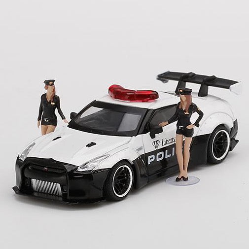 **PREORDER** MINIGT 1/64 LB★WORKS Nissan GT-R R35 Type 1 Rear Wing Version 1, LB★WORKS Police Limited Edition