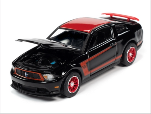 Auto World 1:64 Premium 2012 Ford Mustang Boss 302 Launa Seca (Gloss Black with Red Stripes, Roof & Rear Spoiler)