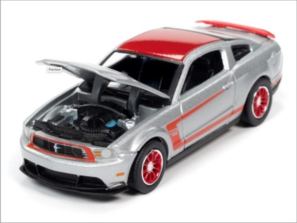 Auto World 1:64 Premium 2012 Ford Mustang Boss 302 Launa Seca (Silver with Red Stripes, Roof & Rear Spoiler)
