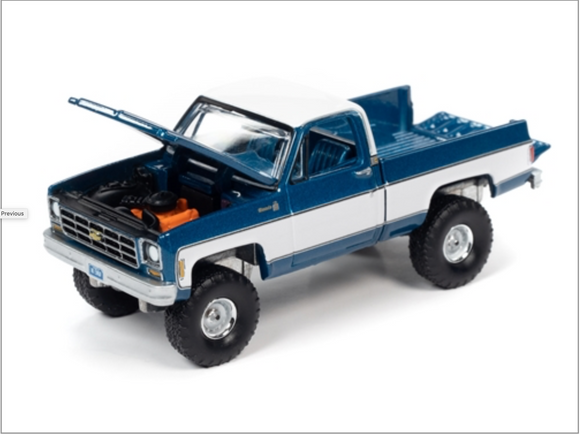 Auto World 1:64 Premium 1978 Chevy K10 Silverado Truck (Bright Blue Iridescent with White Sides & Roof)