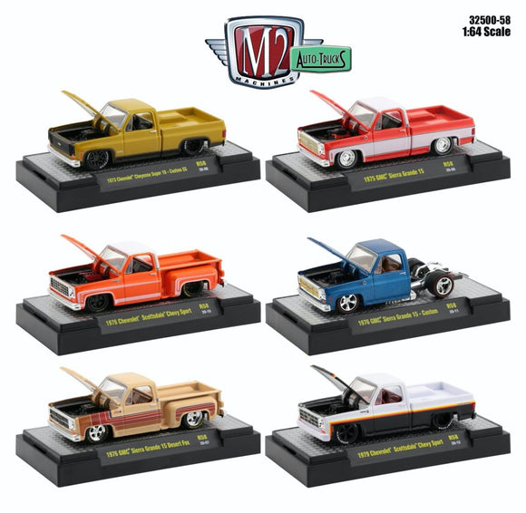 M2 Machines 1:64 Auto-Trucks Release 58 GMC-Chevrolet Square bodies (Set of Six)