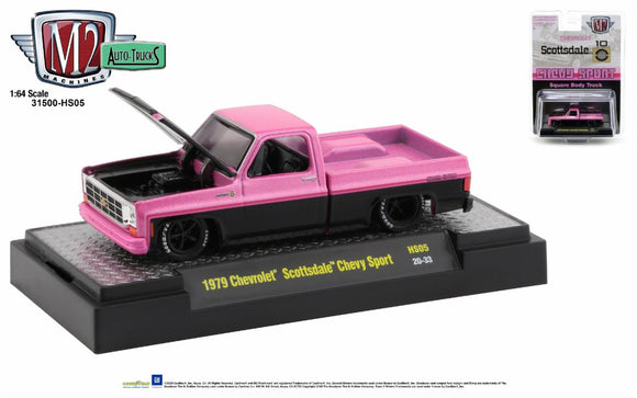 M2 Machines 1:64 Hobby Exclusive 1979 Chevrolet Scottsdale Sport (Black and Pink Pearl two-tone)