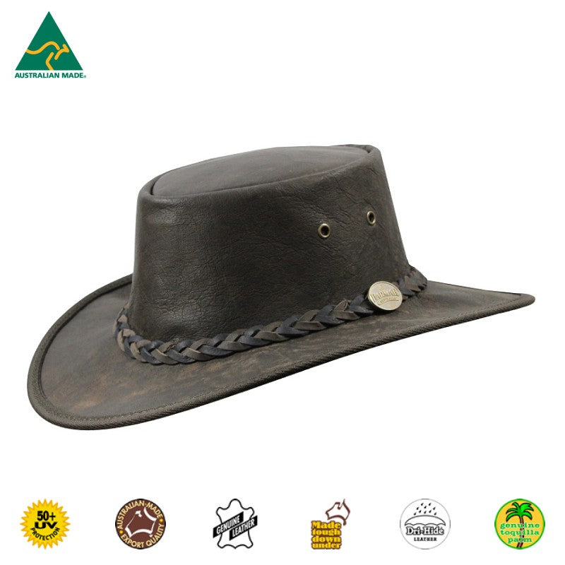 HAT - KANGAROO LEATHER SQUASHY IRONSTONE WASH
