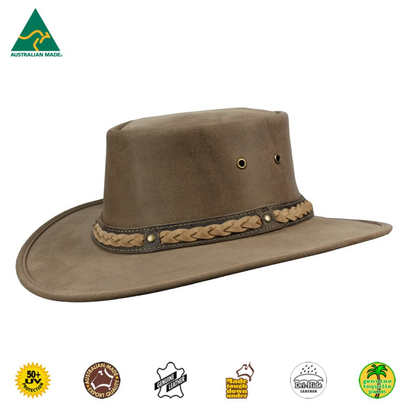 HAT - CATTLE LEATHER SQUASHY BRONCO COOPER HICKORY