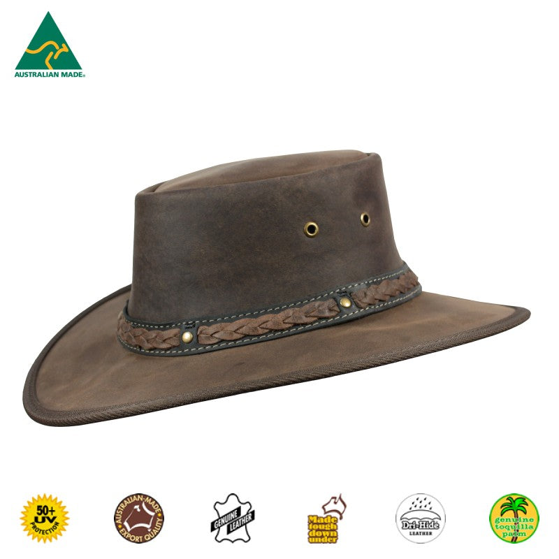 HAT - CATTLE LEATHER SQUASHY BRONCO COOPER CHOCOLATE