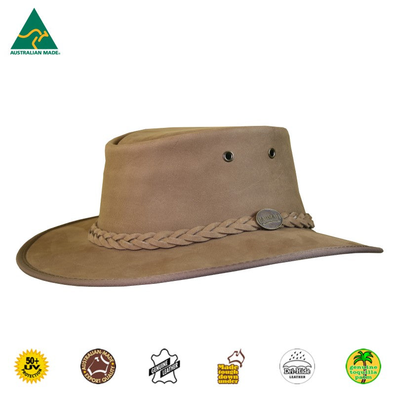 HAT - CATTLE LEATHER SQUASHY BRONCO HICKORY