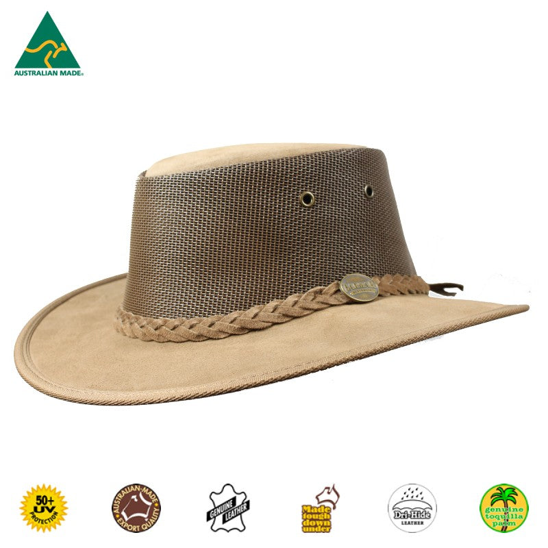 HAT - CATTLE LEATHER SUEDE SQUASHY COOLER HICKORY