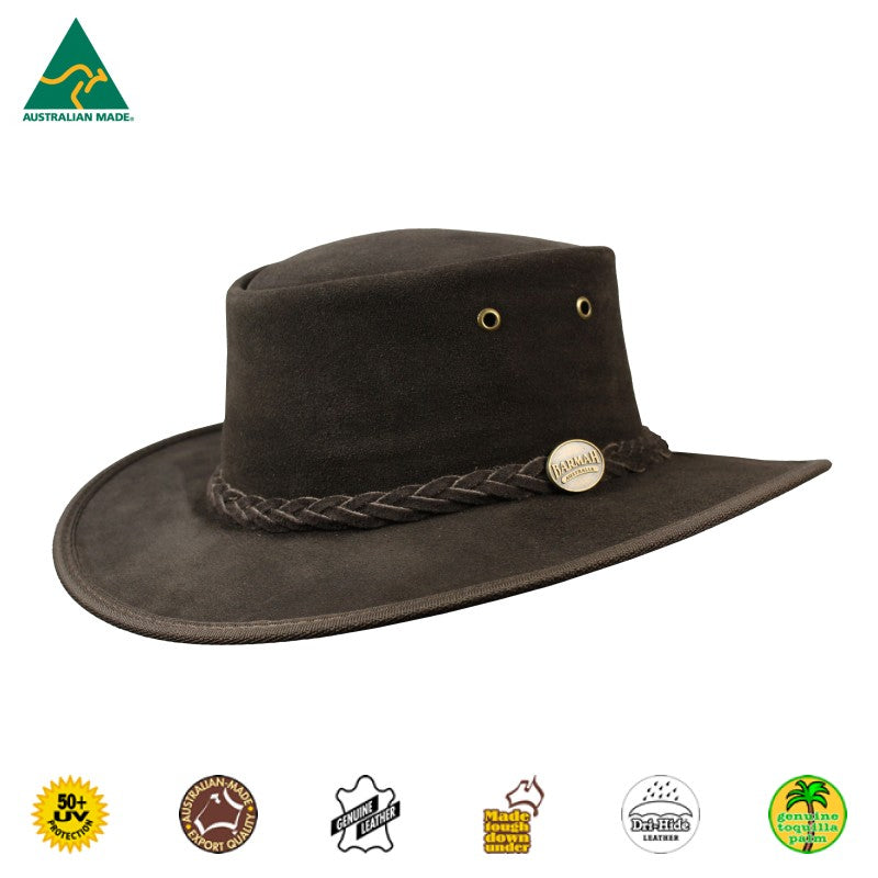 HAT - CATTLE LEATHER SQUASHY SUEDE CHOCOLATE