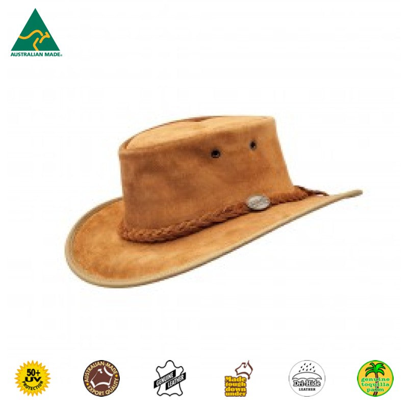 HAT - CATTLE LEATHER SUEDE SQUASHY HICKORY