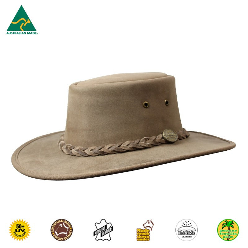 HAT - CATTLE LEATHER SQUASHY FULL GRAIN BROWN