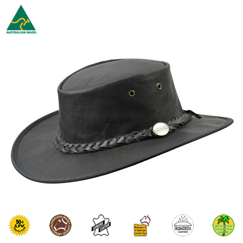 HAT - KANGAROO LEATHER SQUASHY SUNDOWNER BLACK