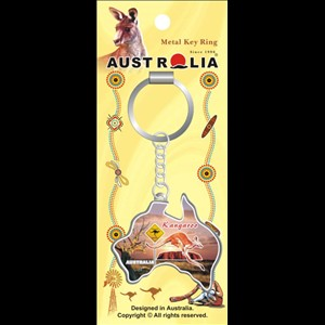 KEYRING - KANGAROO ROADSIGN MAP SHAPE 2 KR/MA/85.