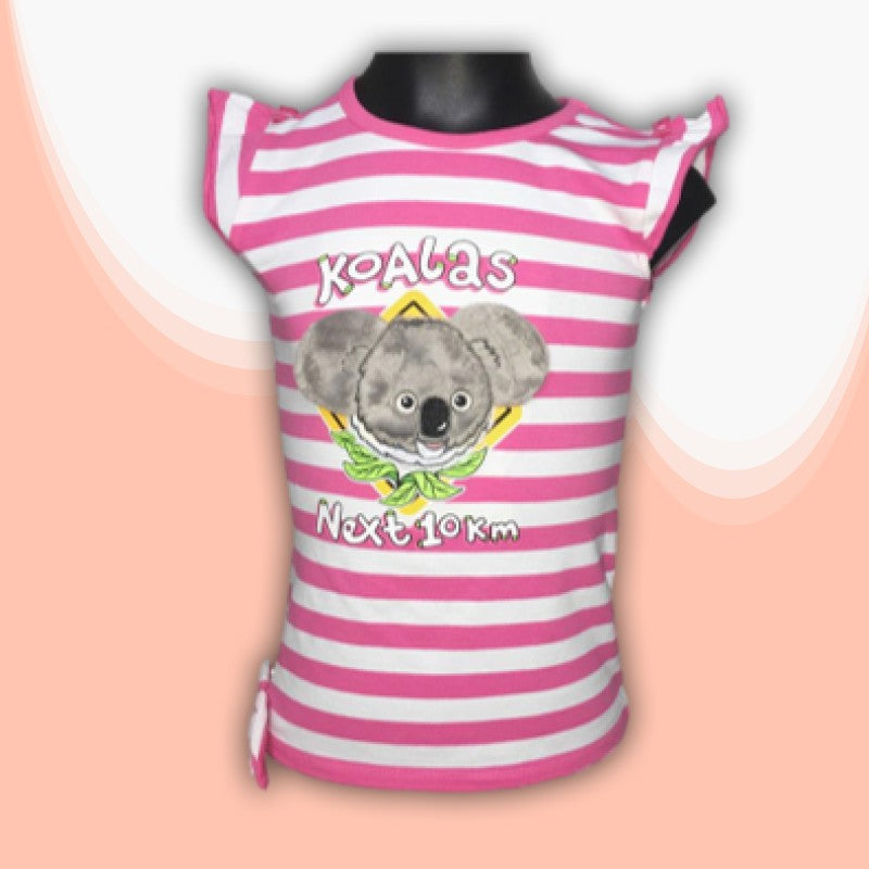 T/SHIRT - 3D KOALA ROAD SIGN PINK STRIPED