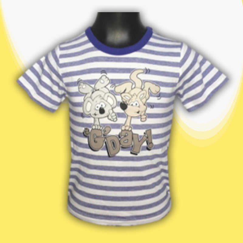 T/SHIRT - G'DAY KOALA & KANGA BLUE STRIPE