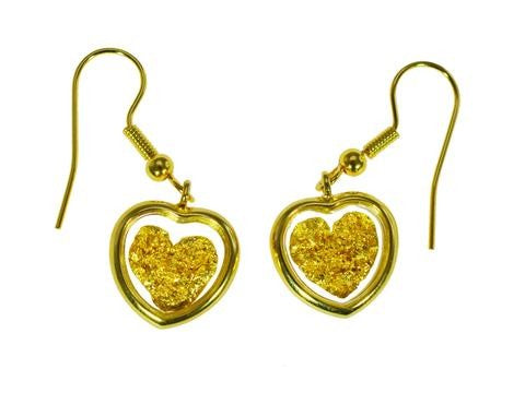 GOLD - GP150105 FILLED EARRINGS HEART ON HOOK.