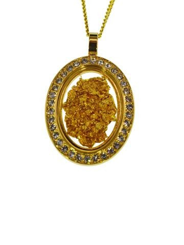 GOLD - GLASS PENDANT DIA OVAL GP250017.