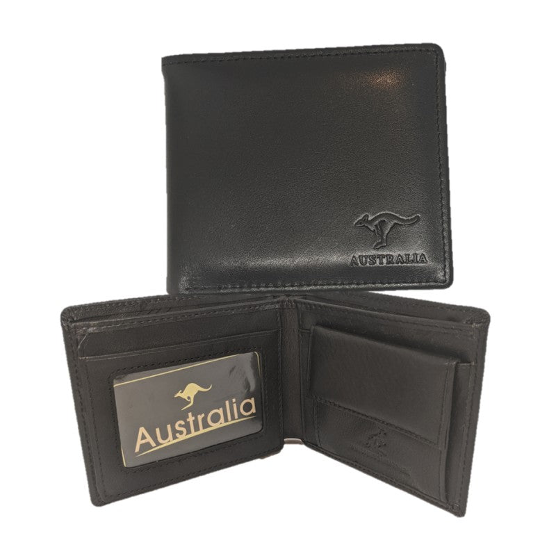 WALLET - KANGAROO LEATHER MEN BLACK AC-310-BLK.