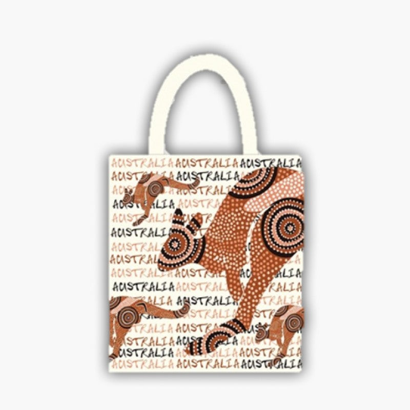 BAG - FOLDING BAG WHITE ABORIGINAL KANGAROO HN-GW047.