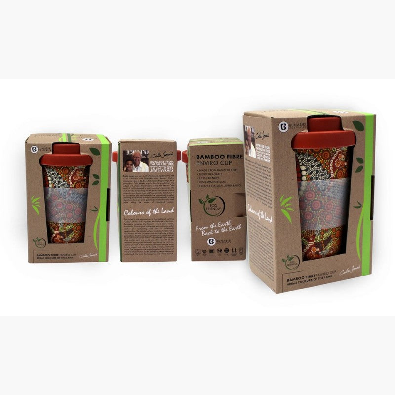 TRAVEL MUG - BAMBOO C.JONES LAND RED B524A.