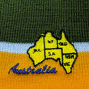BEANIE - GREEN AND ORANGE AUS MAP HAT003/MAP.