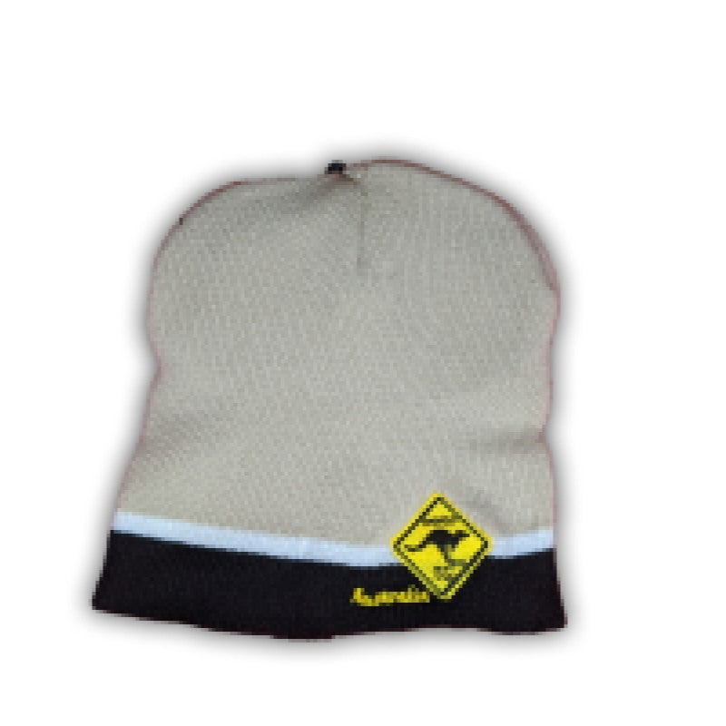 BEANIE - BEIGE & BLACK WITH ROAD SIGN HAT003-RS.