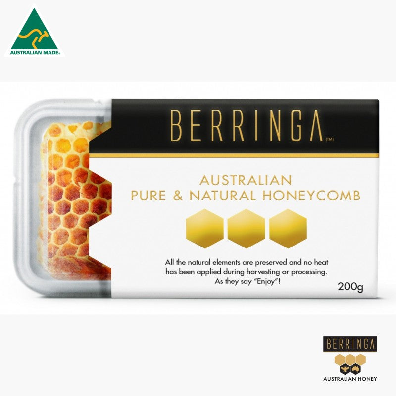 HONEY - BERRINGA P/NATURAL HONEYCOMB 200GM S071.