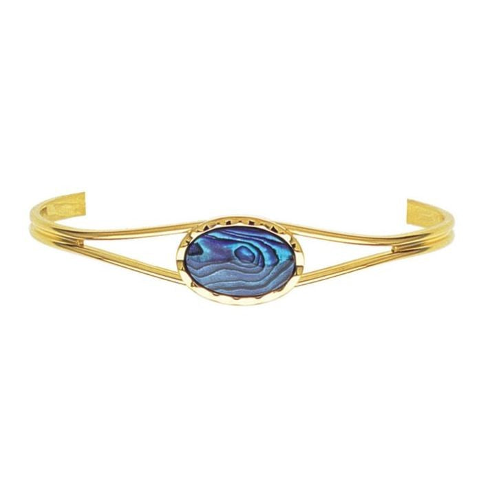 PAUA - BANGLE GOLD PLATED SMALL SCALLOPED OVAL GB910.