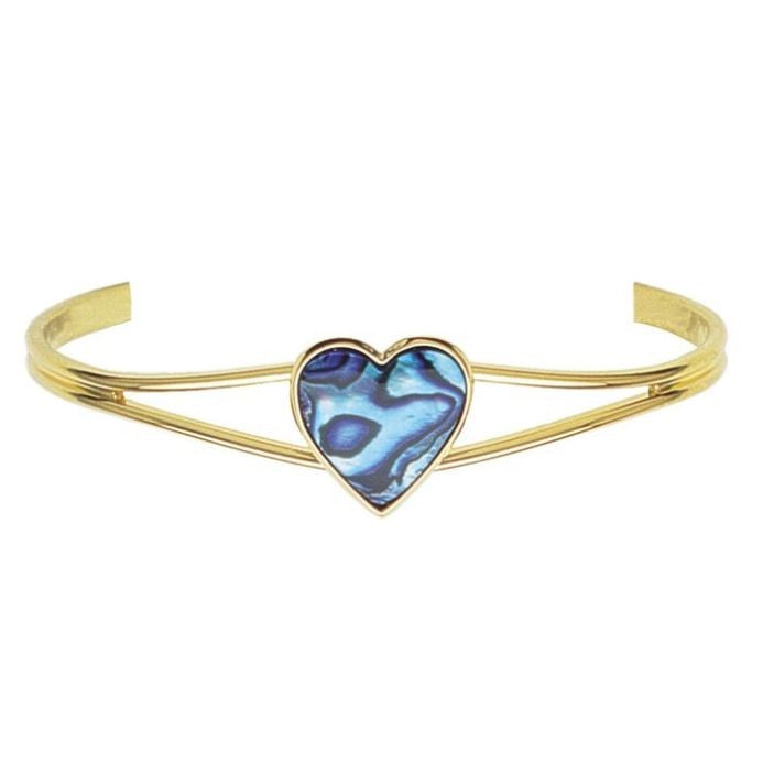 PAUA - BANGLE GOLD PLATED HEART GB847.