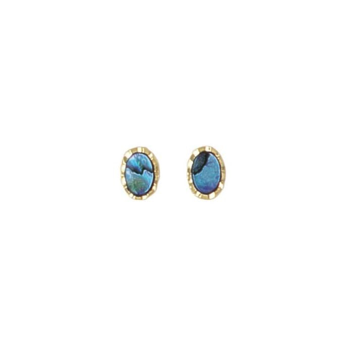 PAUA - EARRING GOLD PLATED SMALL OVAL STUD PE217.